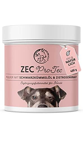 Annimally Zec ProTec Pulver für Hunde - 400g Pulver mit Schwarzkümmelöl, Zistrosenkraut, Bierhefe & Seealge - Effektives Pulver, komplett natürlich als Alternative zu Tabletten und Drops
