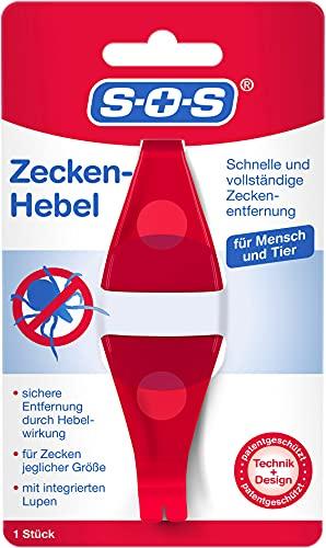 SOS Zecken-Hebel | Zeckenentfernung | Zeckenentferner | Alternative zur Zeckenzange | Für Mensch und Tier | Mit Lupe