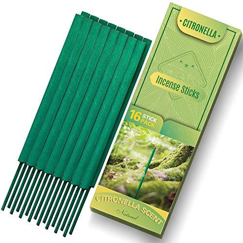 SCENTORINI Citronella Räucherstäbchen für Outdoor, mit natürlichem ätherischem Citronella-Öl, 16 Stäbchen