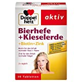 Doppelherz Bierhefe + Kieselerde – Biotin und Zink für den Erhalt normaler Haut – 1 x 30 Tabletten