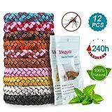 Mückenschutz Armband, 12 Stück Mosquito Repellent Bracelet Wristband, natürlichen Anti Moskito mücken Armband für Kinder geeignet, Erwachsene Indoor und Outdoor