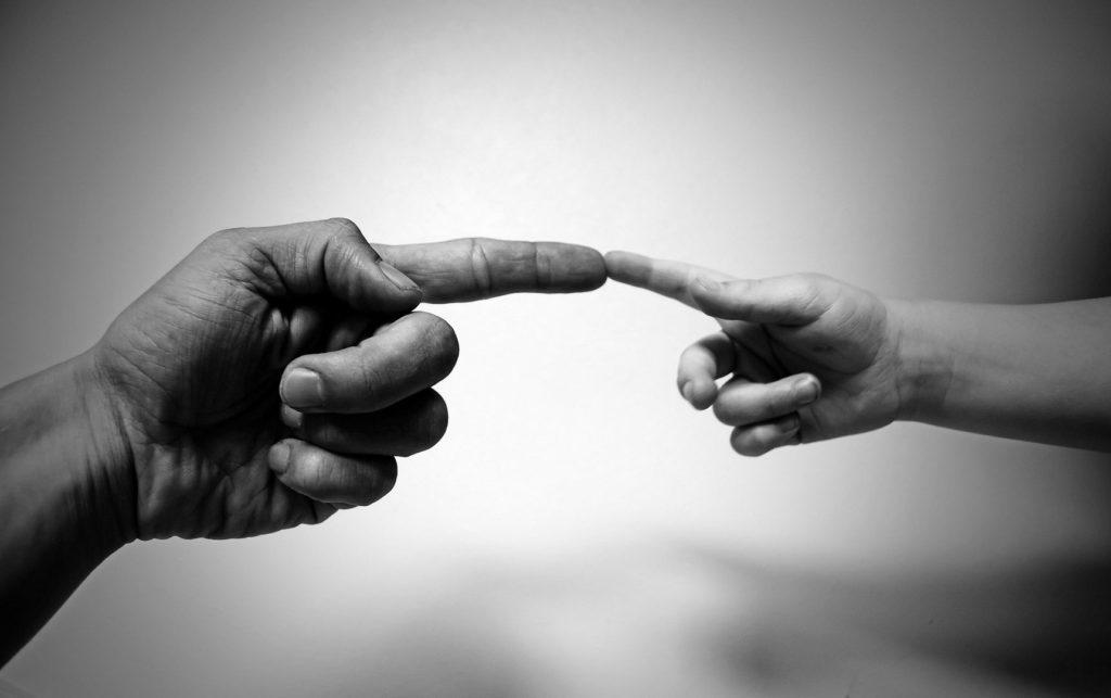 Zwei Hände Haut Berührung