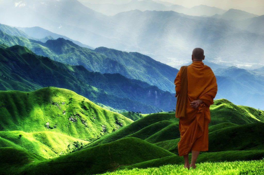 Buddhistischer Mönch Landschaft